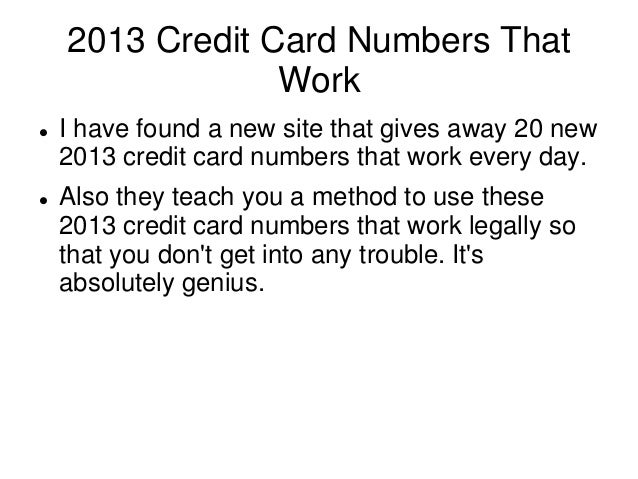how to get real credit card numbers that work