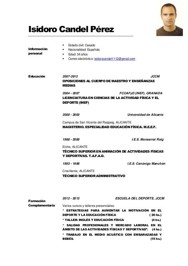Curriculum Vitae Isidoro Candel Actualizado A Julio 2014