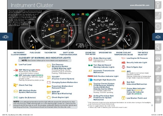Mazda CX Smart Start Guide - Mazda cx 5 dashboard lights
