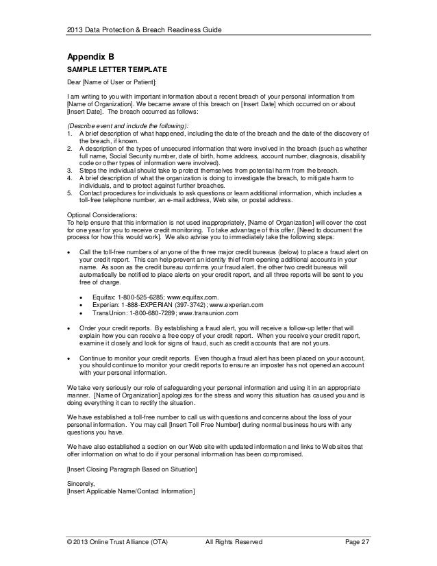 sample hipaa breach notification letter View a list of breach notification letters posted by the california office of the attorney sample breach notification letters the hipaa/hitech omnibus.