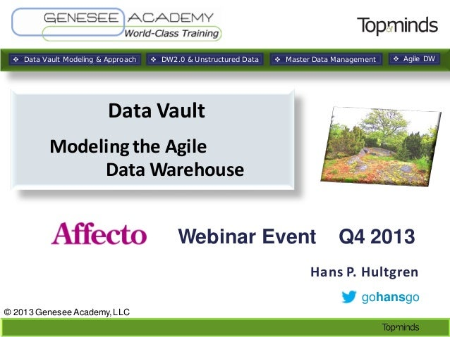  Data Vault Modeling & Approach   DW2.0 & Unstructured Data   Master Data Management   Agile DW  Data Vault Modeling t...