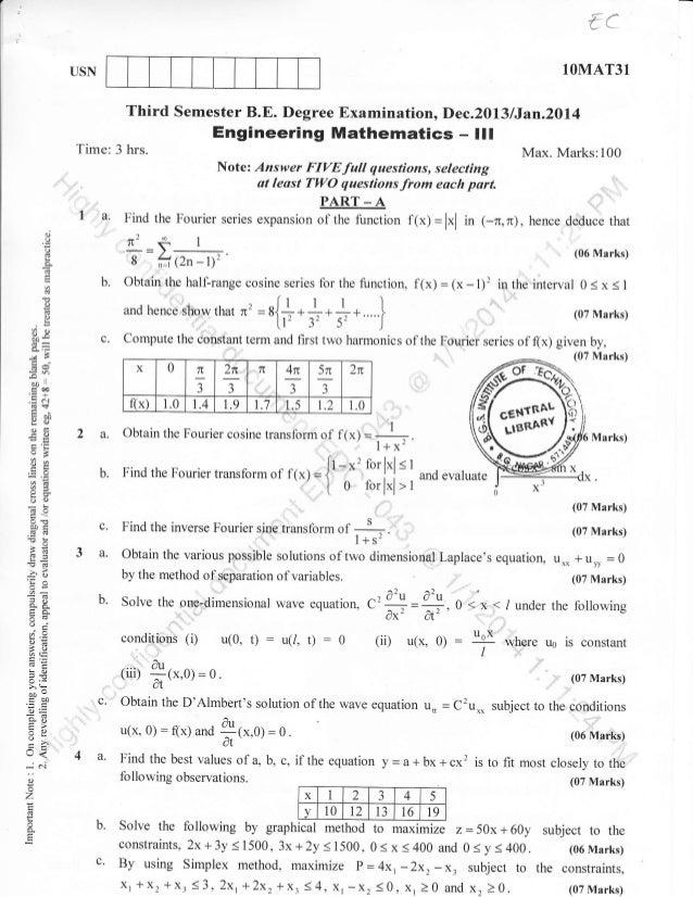 '/  ,''  1OMAT31  USN  Third Semester B.E. Degree Examination, Dec.2013 lJan.20l4  Engineering Mathematics -  Time: 3 hrs....