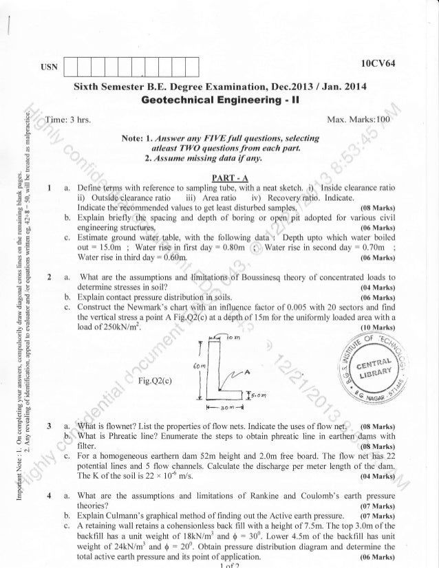 10cv64  USN  Sixth Semester B.E. Degree Examination, Dec.2013 I Jan.2Ol4 Geotechnical Engineering - ll a)  o o  Time: 3 hr...