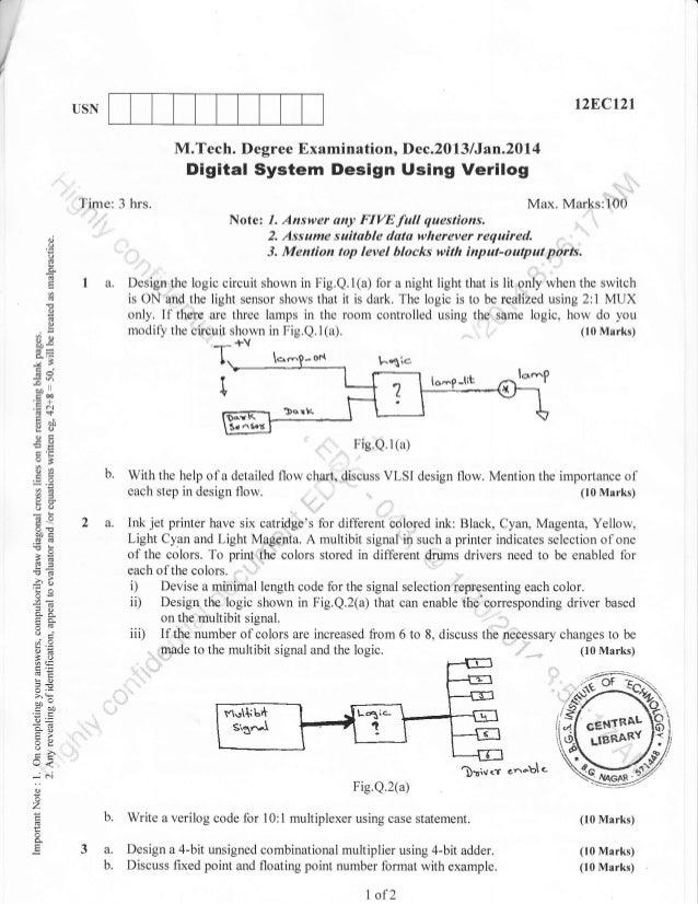 1st Semester M Tech Cmos Vlsi Design Dec 2013 Question Papers
