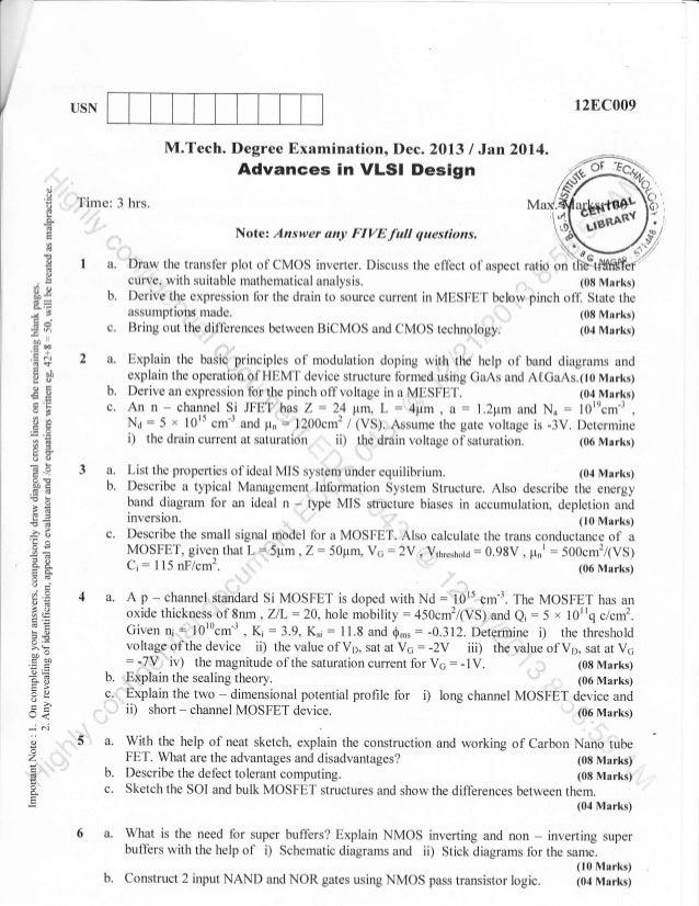digital electronics ec64 vlsi design question paper Mumbai university question papers for electronics engineering - semester 8  cmos vlsi design  elective - ii: biomedical electronics.