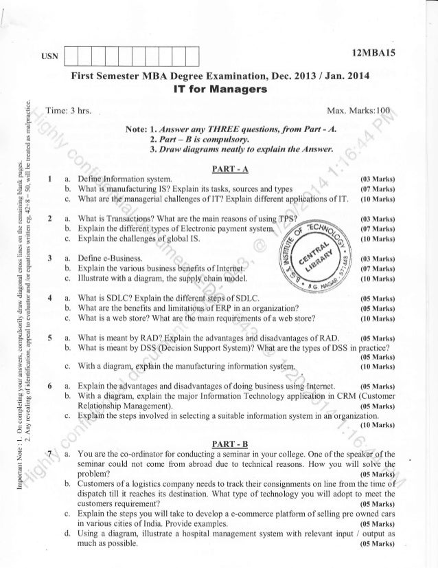 1st Semester Mba Dec 2013 Question Papers