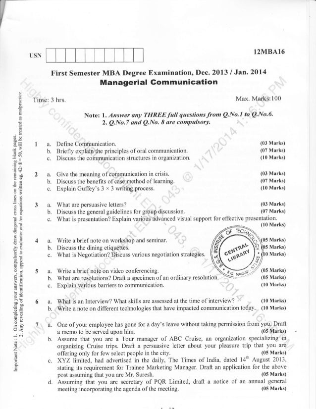 1st Semester MBA (Dec-2013) Question Papers