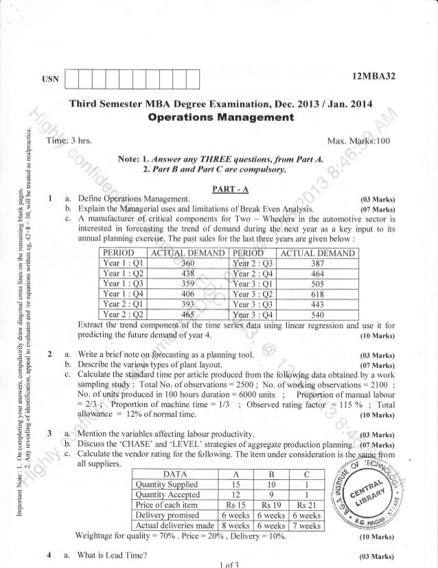3rd Semester MBA (Dec-2013) Question Papers