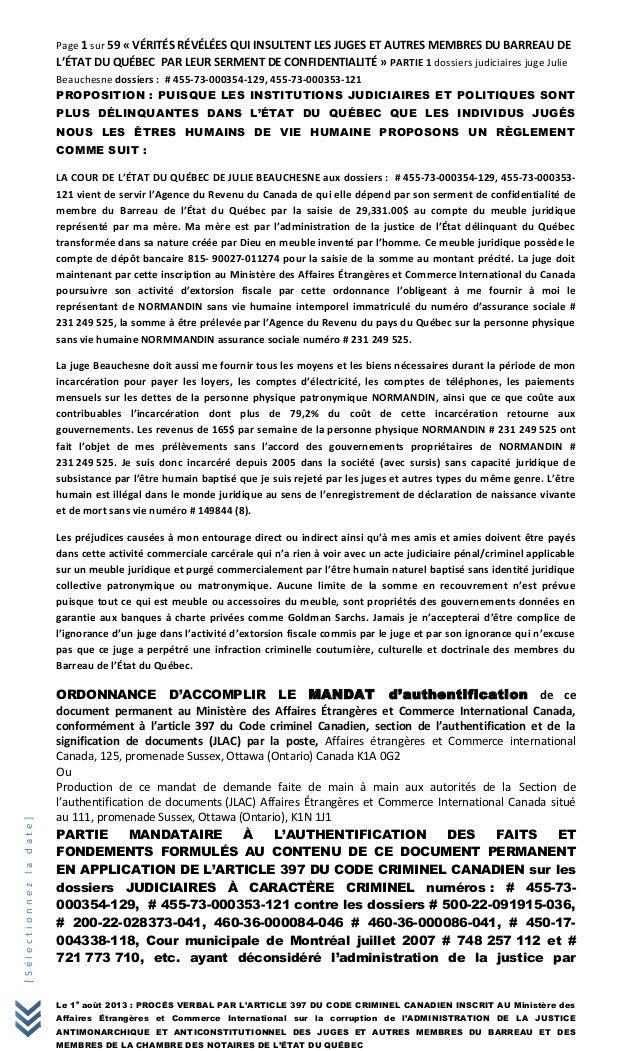 [Sélectionnezladate] Page 1 sur 59 « VÉRITÉS RÉVÉLÉES QUI INSULTENT LES JUGES ET AUTRES MEMBRES DU BARREAU DE L'ÉTAT DU QU...