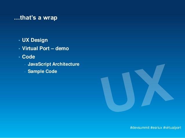 …that's a wrap •   UX Design •   Virtual Port – demo •   Code     -   JavaScript Architecture     -   Sample Code         ...