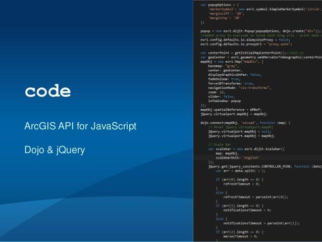 codeArcGIS API for JavaScriptDojo & jQuery                            #devsummit #esriux #virtualport