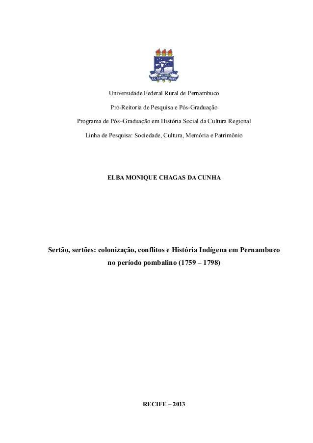 Universidade Federal Rural de Pernambuco Pró-Reitoria de Pesquisa e Pós-Graduação Programa de Pós–Graduação em História So...