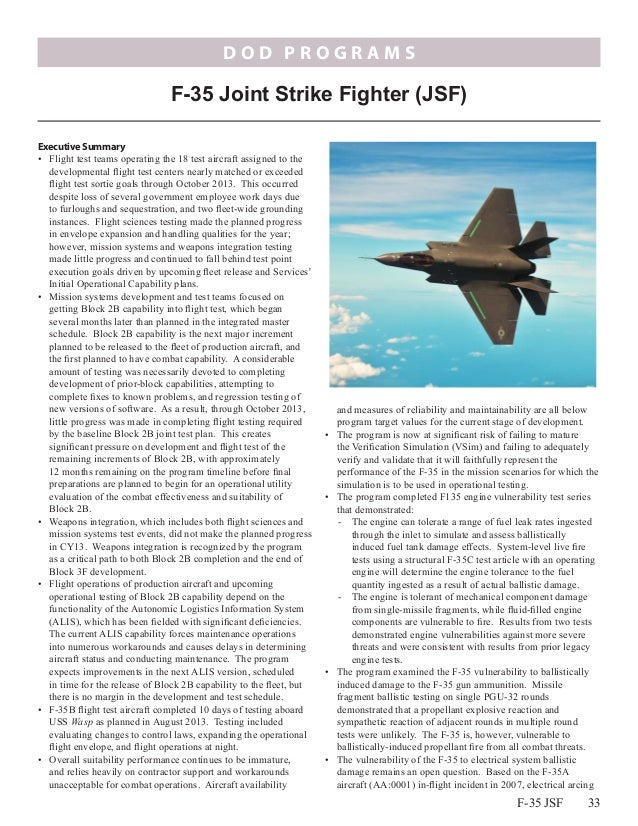 DOD PROGRAMS  F-35 Joint Strike Fighter (JSF) Executive Summary  Wasp