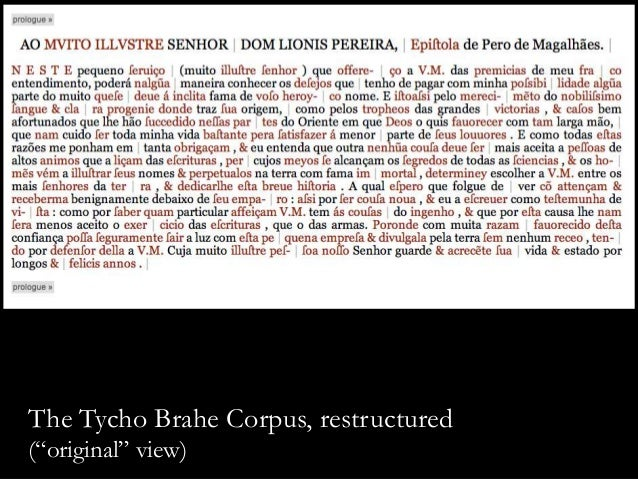 """The Tycho Brahe Corpus, restructured (""""original"""" view)"""