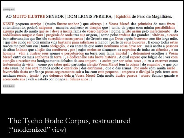 """The Tycho Brahe Corpus, restructured (""""modernized"""" view)"""