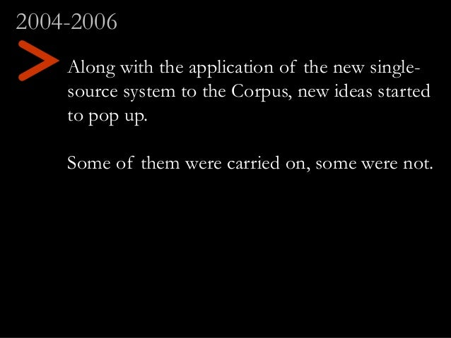 Along with the application of the new single- source system to the Corpus, new ideas started to pop up. Some of them were ...