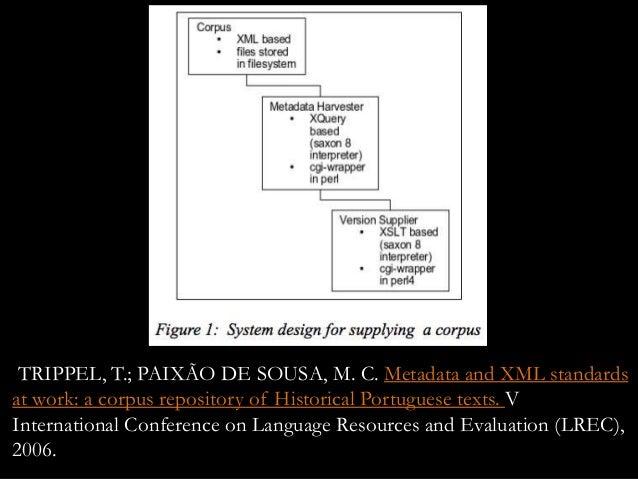 TRIPPEL, T.; PAIXÃO DE SOUSA, M. C. Metadata and XML standards at work: a corpus repository of Historical Portuguese texts...