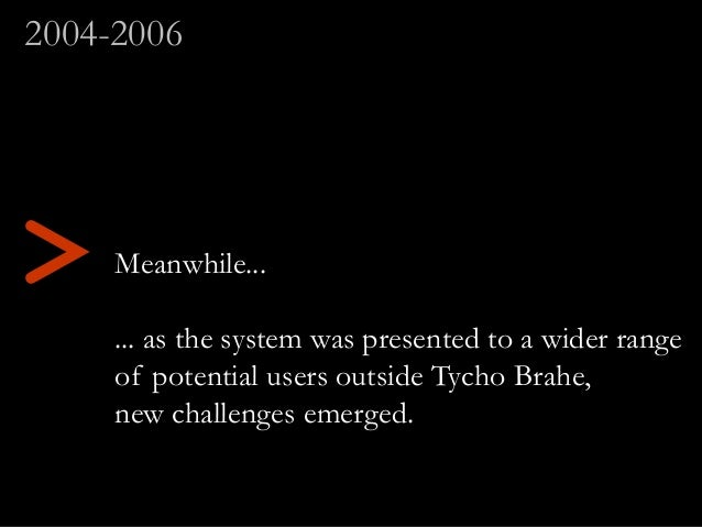 Meanwhile... ... as the system was presented to a wider range of potential users outside Tycho Brahe, new challenges emerg...