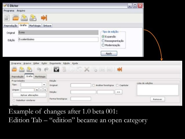 """Example of changes after 1.0 beta 001: Edition Tab – """"edition"""" became an open category"""