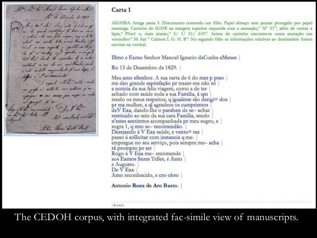The CEDOH corpus, with integrated fac-simile view of manuscripts.