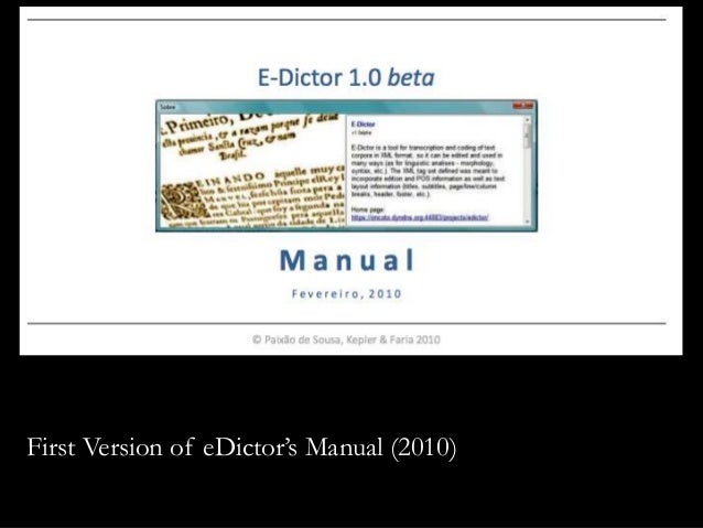 First Version of eDictor's Manual (2010)