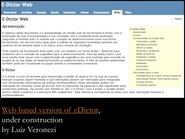 Web-based version of eDictor, under construction by Luiz Veronezi