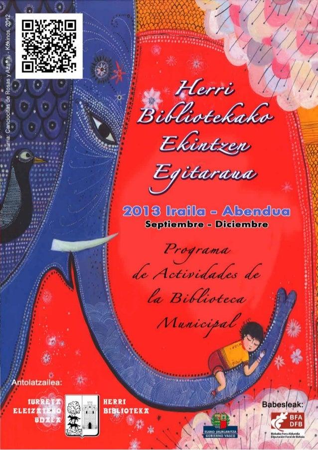 Programa de actividades biblioteca Iurreta (septiembre-diciembre 2013)
