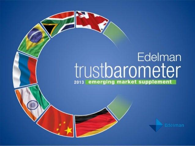 2013 TRUST BAROMETER: EMERGING MARKETS SUPPLEMENT 2 GLOBAL ONLINE SURVEY IN NINE COUNTRIES • 5,400 respondents • Nine coun...