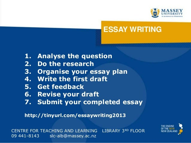 ESSAY WRITING CENTRE FOR TEACHING AND LEARNING LIBRARY 3RD FLOOR 09 441-8143 slc-alb@massey.ac.nz 1. Analyse the question ...