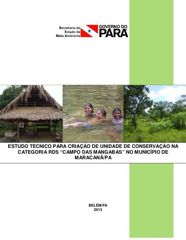 """BELÉM/PA 2013 ESTUDO TÉCNICO PARA CRIAÇÃO DE UNIDADE DE CONSERVAÇÃO NA CATEGORIA RDS """"CAMPO DAS MANGABAS"""" NO MUNICÍPIO DE ..."""