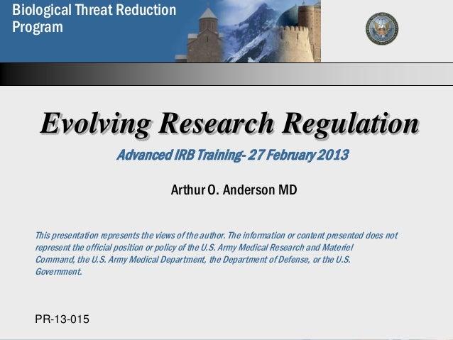 Biological Threat Reduction  Biological WeaponsProgram  Proliferation Prevention  Program    Evolving Research Regulation ...