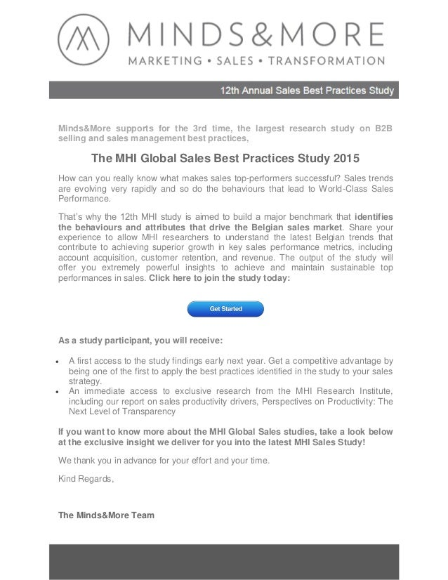 Charming Mindsu0026More Supports For The 3rd Time, The Largest Research Study On B2B  Selling And Sales 2013 Miller Heiman Sales Best Practices Study Executive  Summary: ... In Best Executive Summary