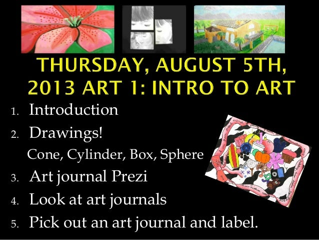 1. 2.  Introduction Drawings! Cone, Cylinder, Box, Sphere  3. 4. 5.  Art journal Prezi Look at art journals Pick out an ar...