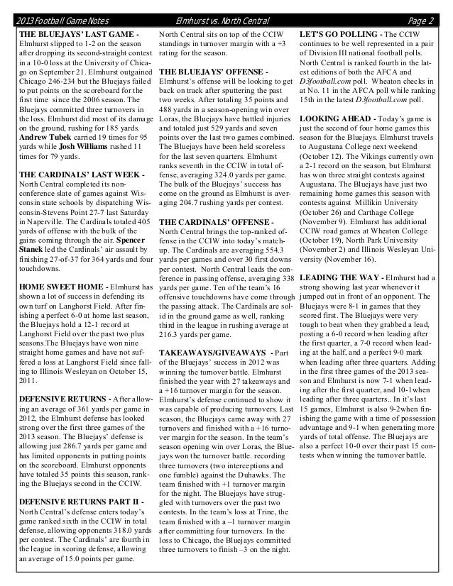 2013 Football Game Notes THE BLUEJAYS' LAST GAME Elmhurst slipped to 1-2 on the season after dropping its second-straight ...