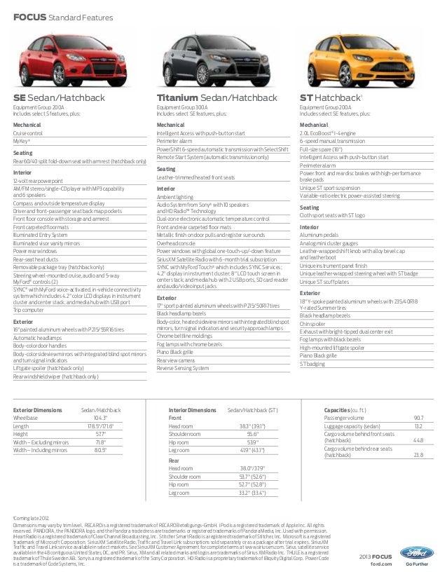2012 ford focus se specs