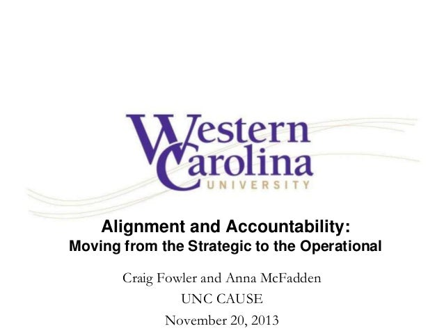 Alignment and Accountability: Moving from the Strategic to the Operational Craig Fowler and Anna McFadden UNC CAUSE Novemb...