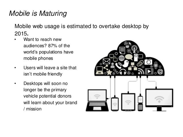 Mobile is Maturing Mobile web usage is estimated to overtake desktop by 2015. • Want to reach new audiences? 87% of the wo...