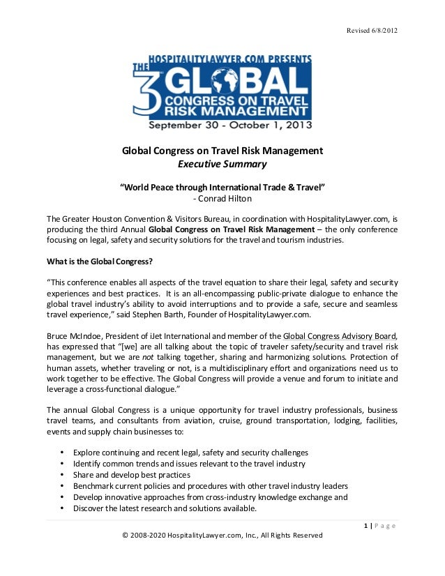 Hospitalitylawyer Com 2013 Global Congress On Travel Risk Managemen