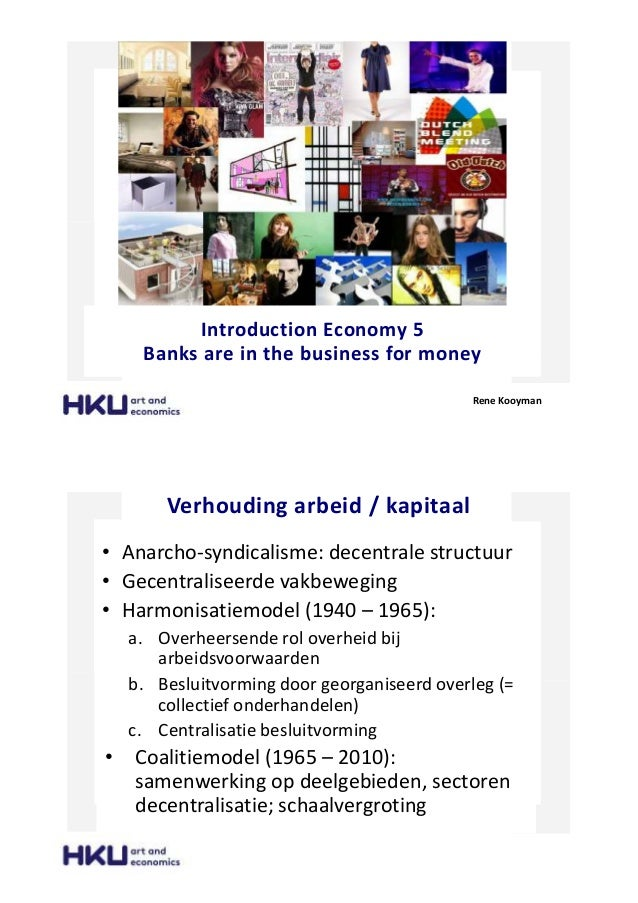 Introduction Economy 5 Banks are in the business for money Rene Kooyman Verhouding arbeid / kapitaal • Anarcho-syndicalism...