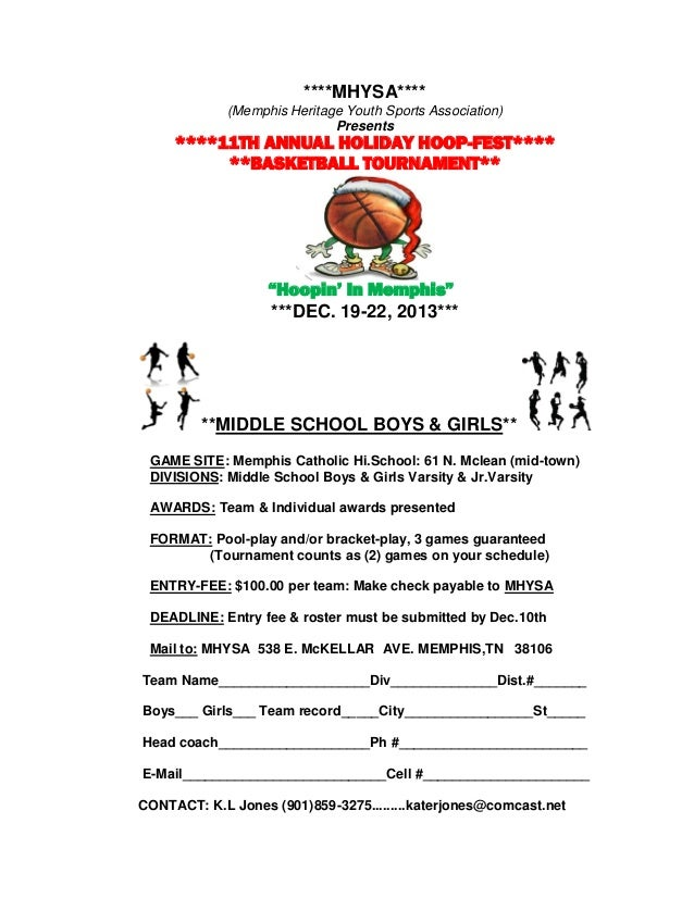 ****MHYSA**** (Memphis Heritage Youth Sports Association) Presents ****11TH ANNUAL HOLIDAY HOOP-FEST**** **BASKETBALL TOUR...