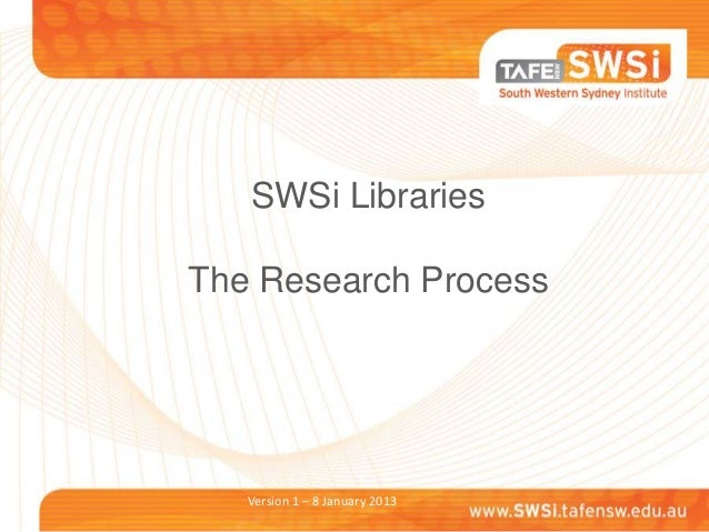 SWSi LibrariesThe Research Process   Version 1 – 8 January 2013