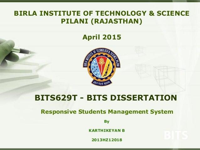 bits pilani dissertation grades