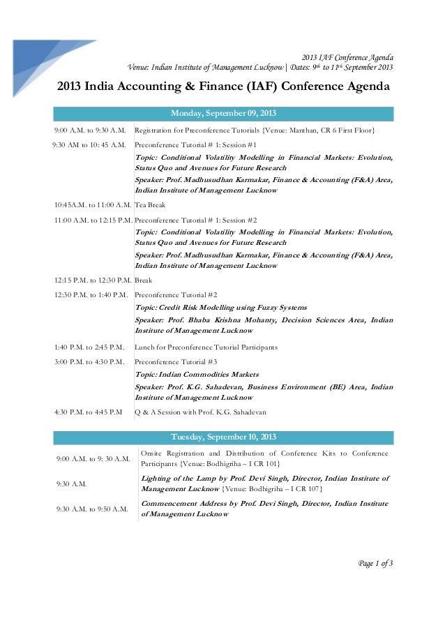 2013 IAF conference agenda