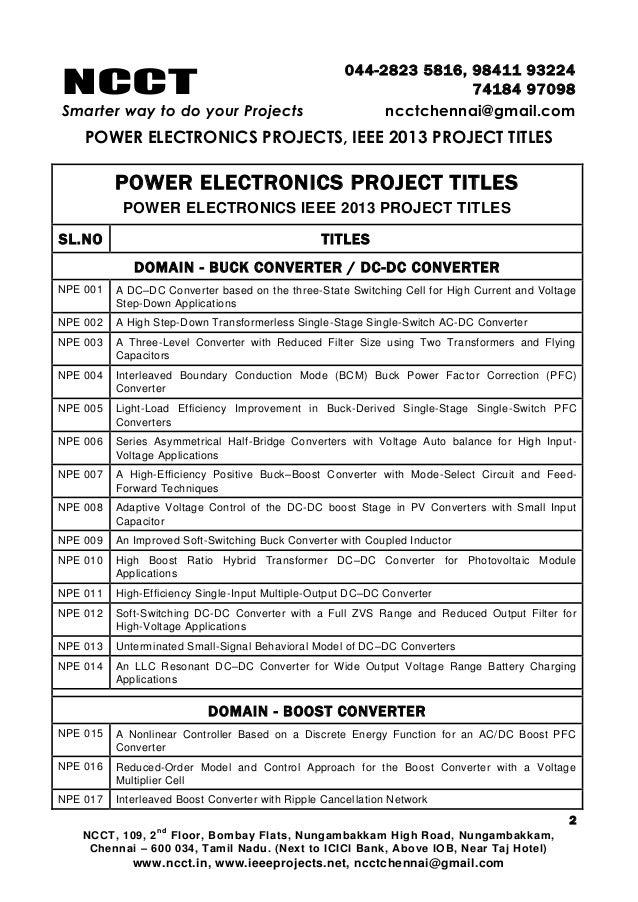 2013 ieee power electronics project titles, ncct ieee 2013 power el…