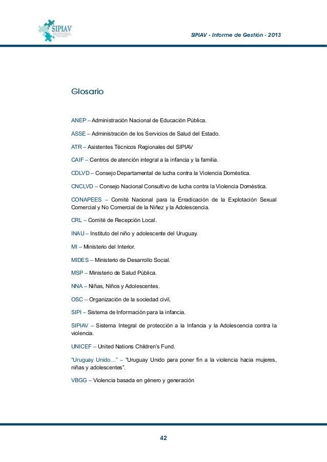 """SIPIAV - Informe de Gestión - 2013  43 Bibliografía Asociación para los Derechos de la Mujer y el Desarrollo (2004): """"In..."""