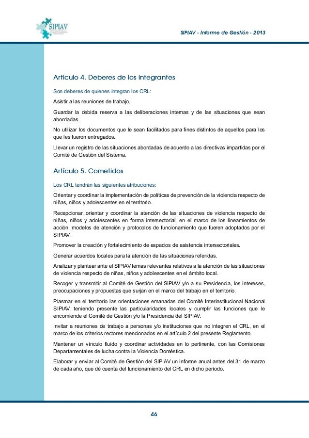 SIPIAV - Informe de Gestión - 2013  47 Anexo 2 Servicios de INAU en Convenio con Asociaciones Civiles Albergues o Centro...