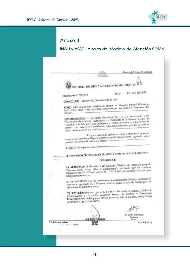 SIPIAV - Informe de Gestión - 2013  50