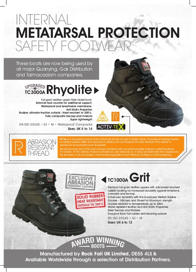 12998e80bd7 Rock Fall UK Ltd - Internal Metatarsal Protection Safety Footwear Lea…