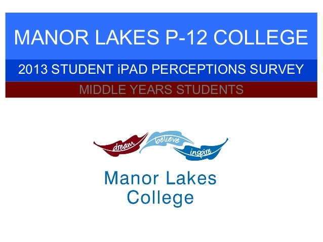 MANOR LAKES P-12 COLLEGE 2013 STUDENT iPAD PERCEPTIONS SURVEY MIDDLE YEARS STUDENTS