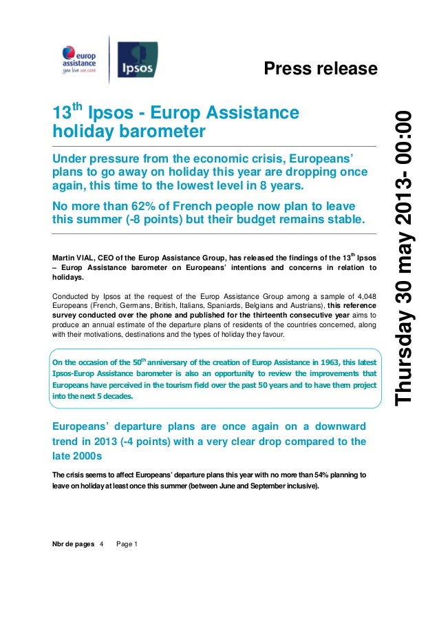 Nbr de pages 4 Page 1Press release13thIpsos - Europ Assistanceholiday barometerUnder pressure from the economic crisis, Eu...
